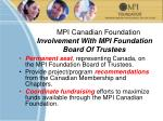 mpi canadian foundation involvement with mpi foundation board of trustees