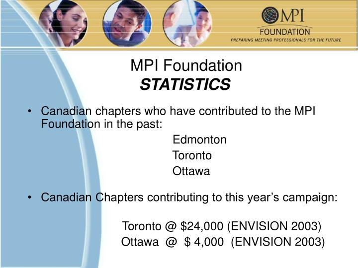 Canadian chapters who have contributed to the MPI Foundation in the past: