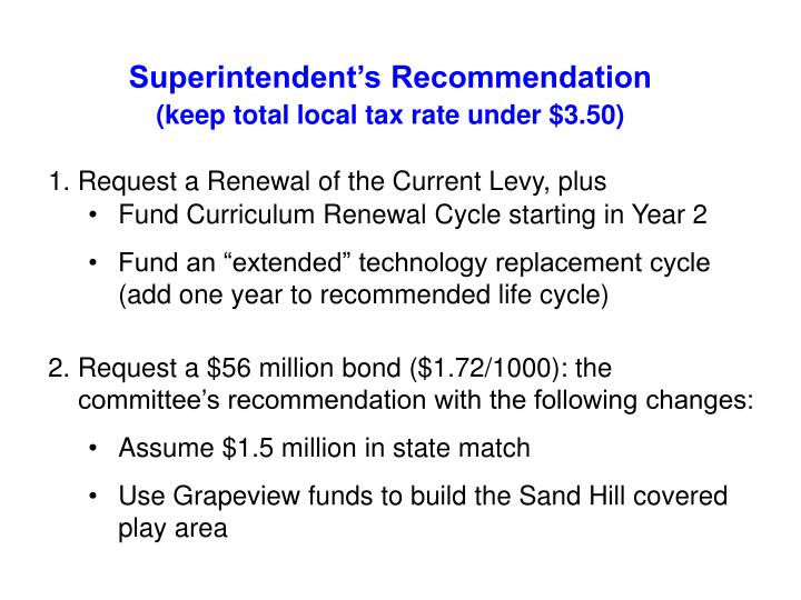 Superintendent's Recommendation