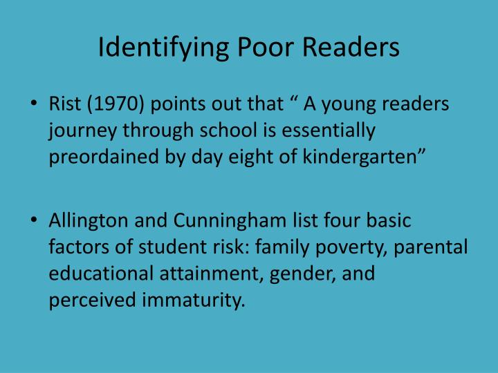 Identifying Poor Readers