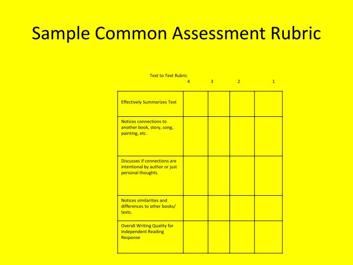 Sample Common Assessment Rubric