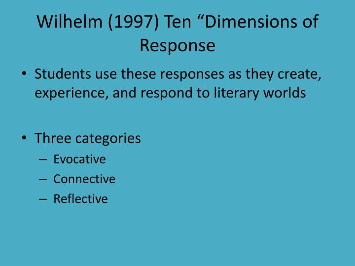 "Wilhelm (1997) Ten ""Dimensions of Response"