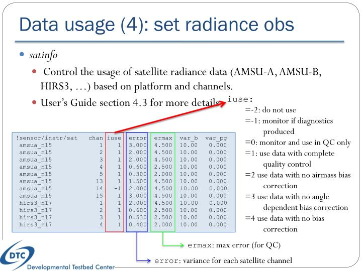 Data usage (4): set radiance obs