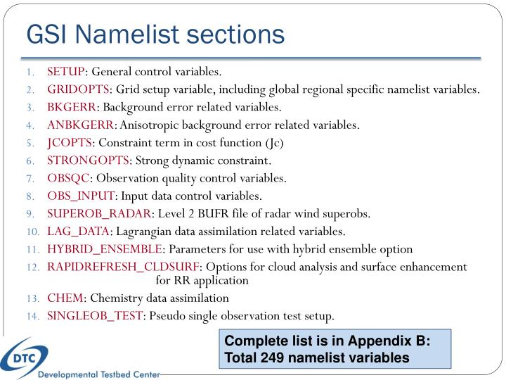 GSI Namelist sections