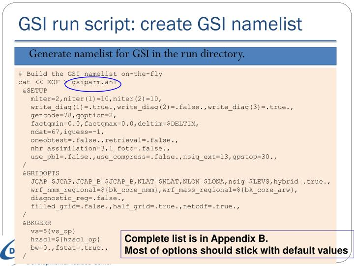 GSI run script: create GSI namelist