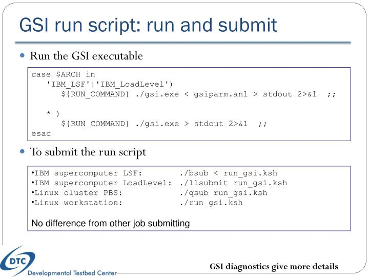GSI run script: run and submit