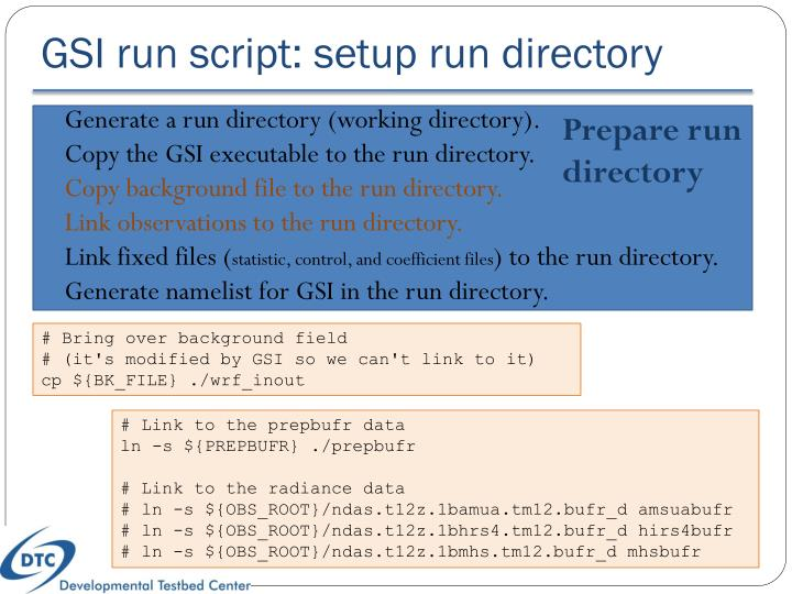 GSI run script: setup run directory