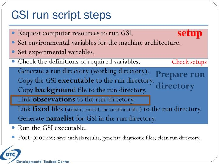 GSI run script steps