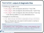 namelist output of diagnostic files