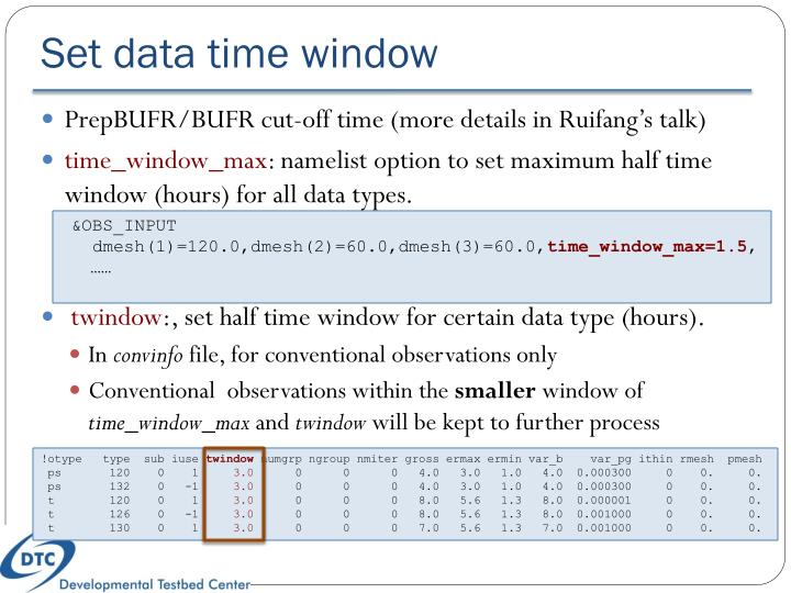 Set data time window