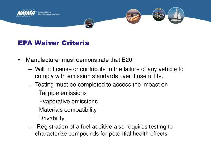 EPA Waiver Criteria