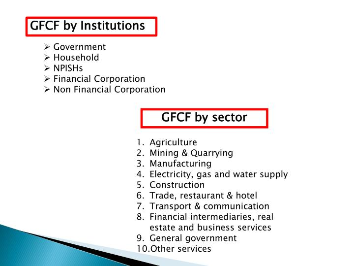 GFCF by Institutions