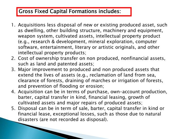 Gross Fixed Capital Formations includes: