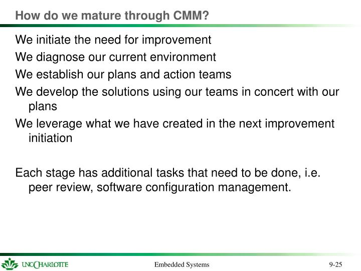 How do we mature through CMM?