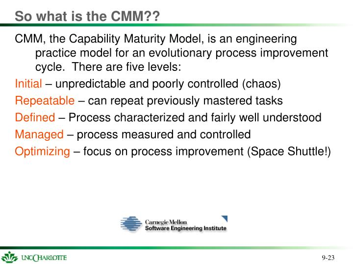 So what is the CMM??
