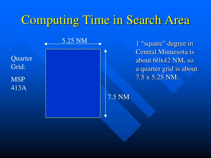 Computing Time in Search Area