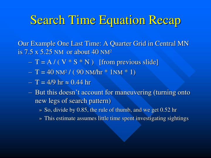 Search Time Equation Recap