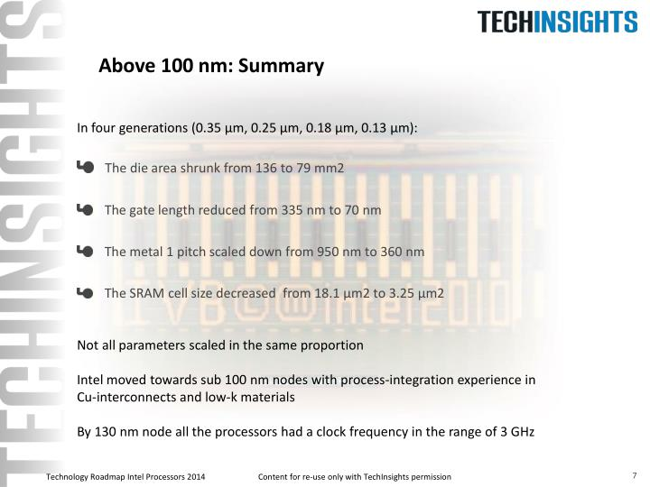 Above 100 nm: Summary