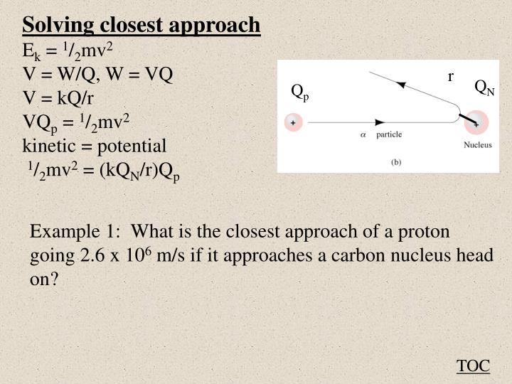 Solving closest approach
