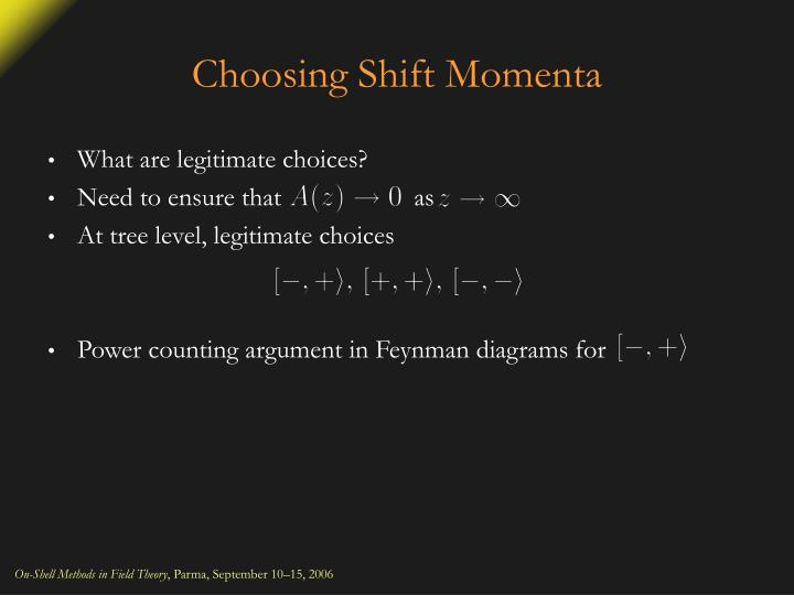 Choosing Shift Momenta
