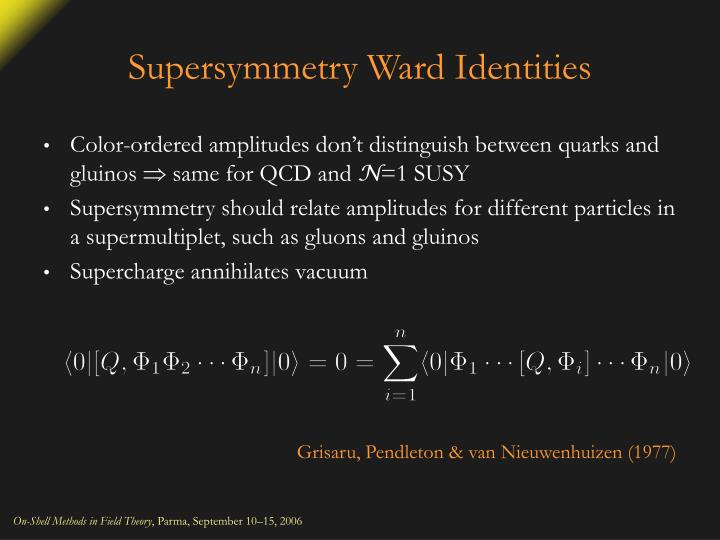 Supersymmetry Ward Identities