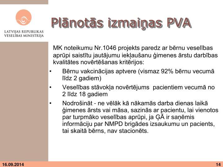 Plānotās izmaiņas PVA