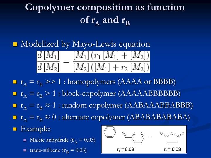 Copolymer composition as function
