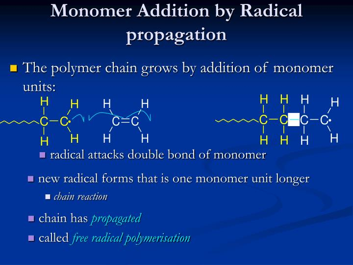 Monomer Addition by Radical propagation