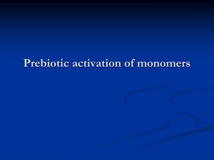 Prebiotic activation of monomers