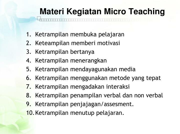 Materi Kegiatan Micro Teaching