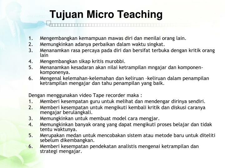 Tujuan Micro Teaching