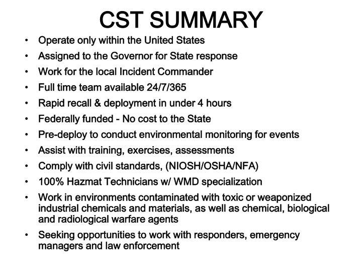 CST SUMMARY