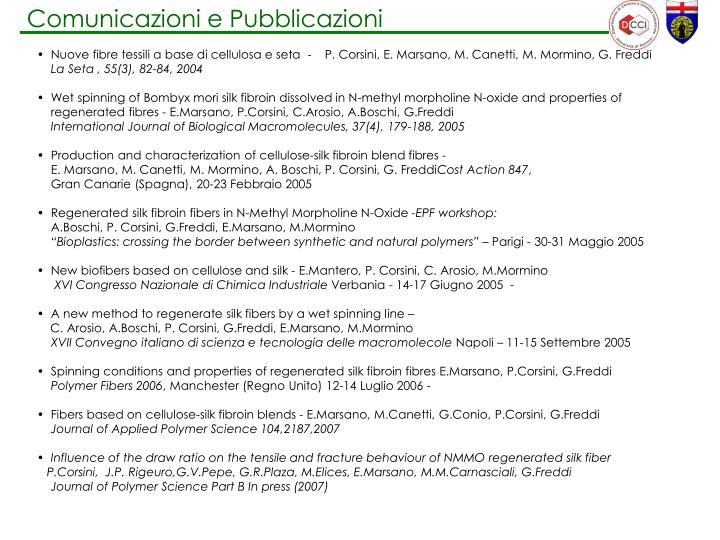 Comunicazioni e Pubblicazioni