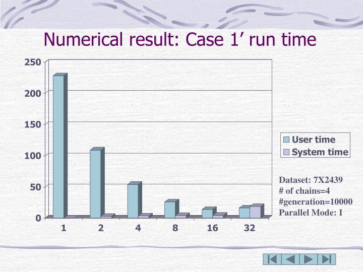 Numerical result: Case 1' run time