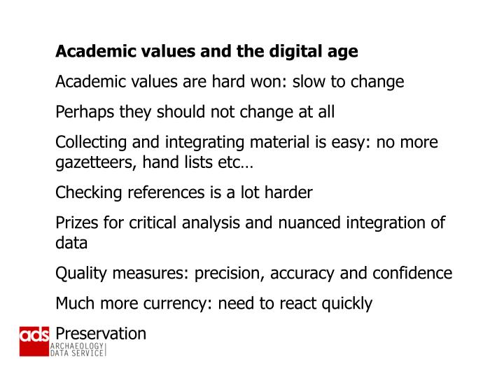 Academic values and the digital age