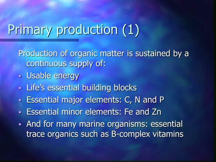 Primary production (1)