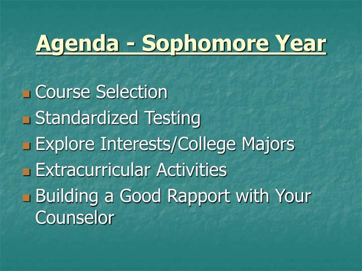 Agenda - Sophomore Year