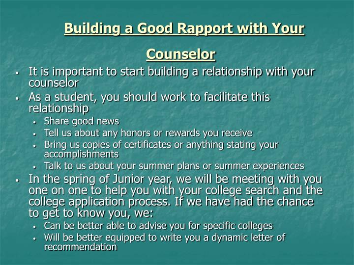 Building a Good Rapport with Your Counselor