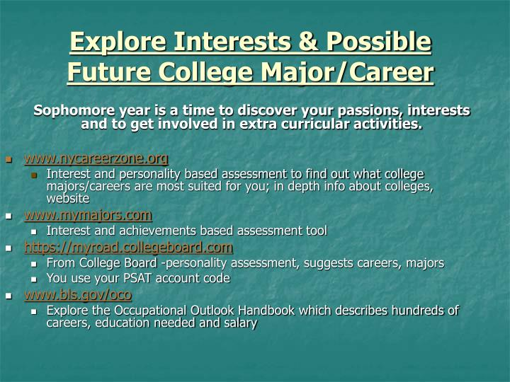 Explore Interests & Possible Future College Major/Career