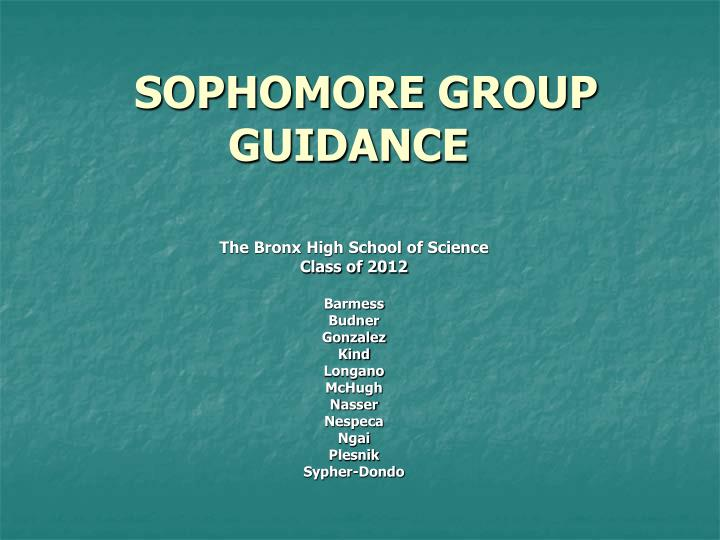 Sophomore group guidance