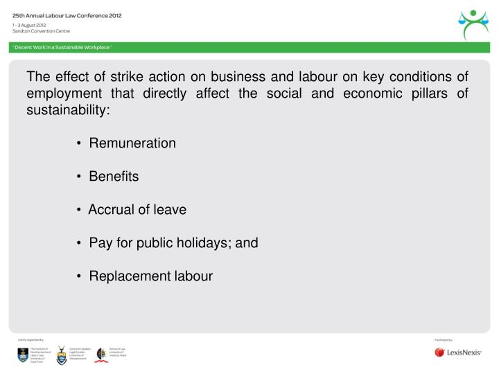 The effect of strike action on business and labour on key conditions of employment that directly affect the social and economic pillars of sustainability: