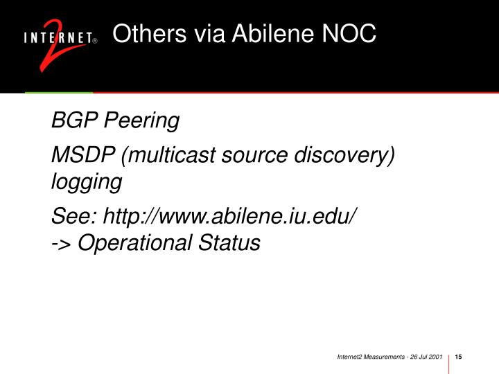 Others via Abilene NOC