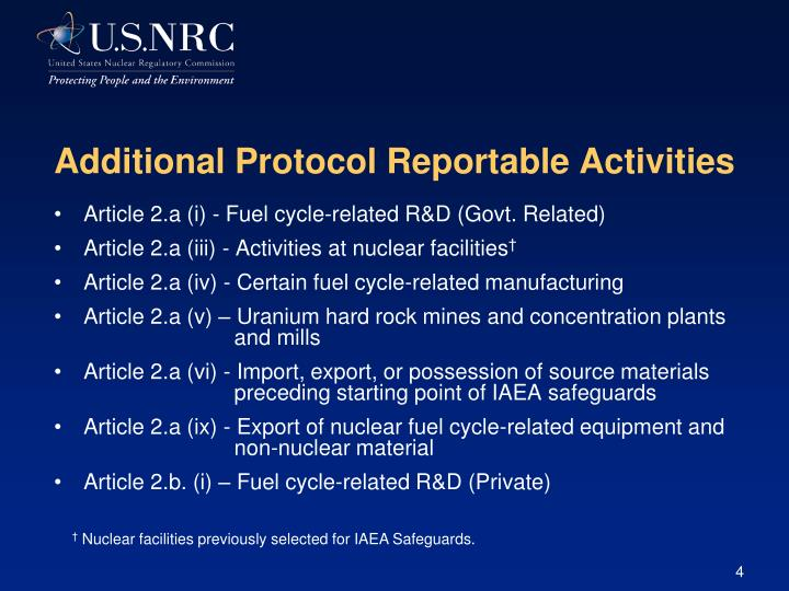 Additional Protocol Reportable Activities