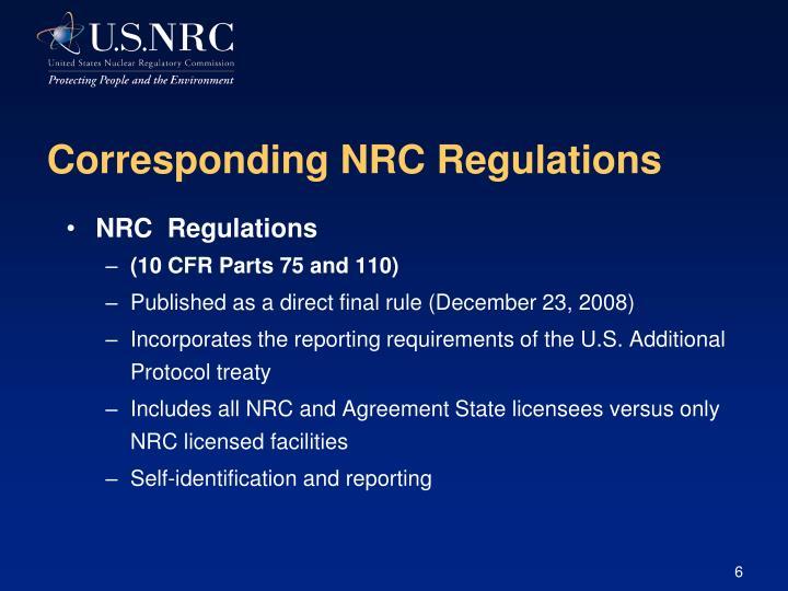 Corresponding NRC Regulations