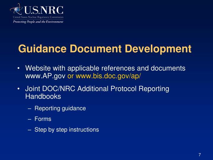 Guidance Document Development