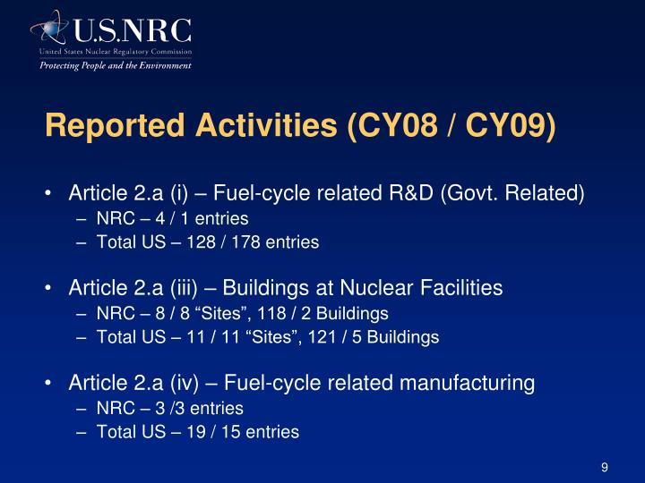 Reported Activities (CY08 / CY09)