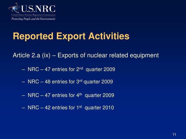 Reported Export Activities