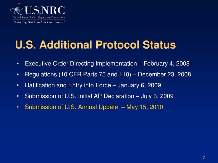 U.S. Additional Protocol Status