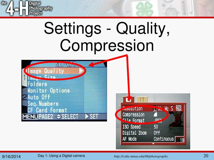 Settings - Quality, Compression