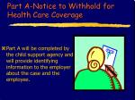 part a notice to withhold for health care coverage